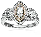 14k White and Yellow Gold Diamond Engagement Marquise Engagement Ring (1carat, H-I Color, I1 Clarity), Size 7