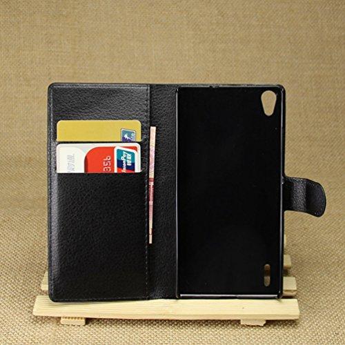 Manyip Funda Huawei P7,Caja del teléfono del cuero,Protector de Pantalla de Slim Case Estilo Billetera con Ranuras para Tarjetas, Soporte Plegable, Cierre Magnético(JFC5-13) B