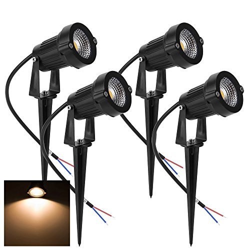 Familite Outdoor Waterproof Decorative Spotlight-6W COB LED Landscape Path Light AC/DC 12V with Spiked Stand, Pack of 4 (Warm White 2600-2800K) (Ac 12v Spot)