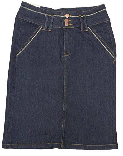 No Fuze Women's Stretch Below The Knee Length Denim Skirt 23