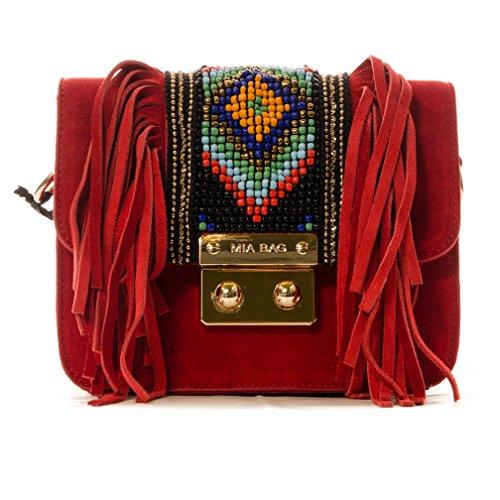 Mia Bag Tracollina 16432-Camo Suede Rosso