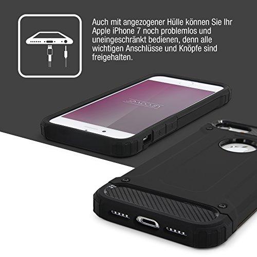 Urcover® Apple iPhone 7 Plus Hülle Steel Series Hybrid | Kunststoff in Schwarz | Zuberhör Tasche Case Handy-Cover Schutz-Hülle Schale