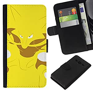 Leather Etui en cuir || Samsung Galaxy A3 || Yellow Monster empuje Fox @XPTECH