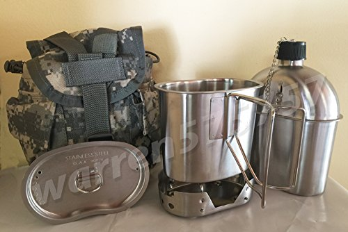 Stainless Surplus Steel (G.A.K G.I. Style 1 qt. Stainless Steel Canteen with Cup and Vented Lid with New Stainless-Steel Stove Foldable, And Used Surplus G.I. Issue Cover (ACU MOLLE II), Kit.)