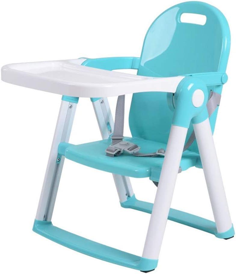 Niños Juego de Mesa Bandeja Infantil extraíble for bebés Asiento Elevador de Viaje Sillas de Comedor de alimentación Escritorio y Silla para niños (Color : Azul, tamaño : 29 * 21 * 44cm)