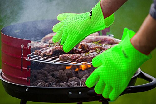 IsA-Kitchen Silicone Heat Resistant BBQ Grill Oven Gloves, Neon Green