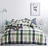 How Large Is a California King Bed SUSYBAO 3 Pieces Duvet Cover Set 100% Natural Washed Cotton King Size 1 Duvet Cover 2 Pillow Cases Green Khaki Luxury Quality Soft Comfortable Breathable Checkered Plaid Pattern with Zipper Ties