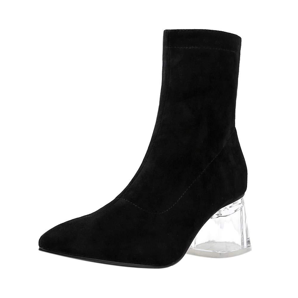 Botas de Tacón para Mujer, Btruely Botines Zapatos de Tacón Fiesta Mujer Leopardo Cristal Grueso Tacones Altos Zip tacón Grueso Puntiagudo Botas Zapatos ...