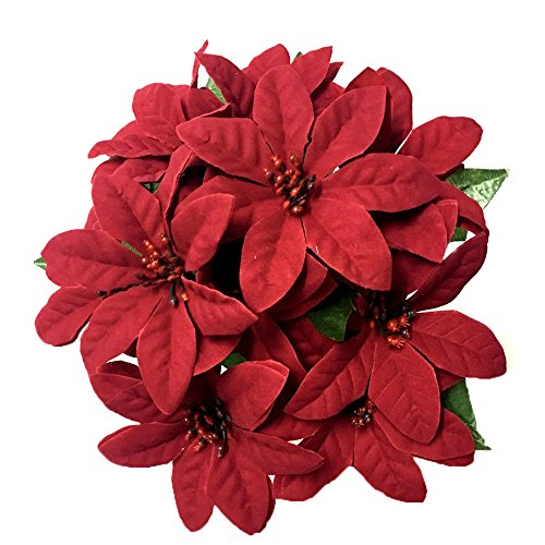 Htmeing 5 Heads Red Poinsettia Decorative Artificial Christmas Flowers Fake Plants Indoor Home Decor for Christmas Tree (2 pcs)