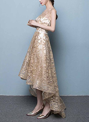 b031375d8ca Fanhao Women s Gold Gild Sashes Long Tail Short Evening Gown Cocktail Dress