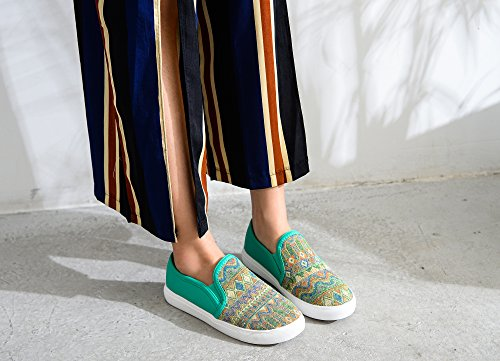 Sneakers Mila Women Slip Canvas Tribal Pattern Lady Cornelia Green Fashion On SxqHzSn
