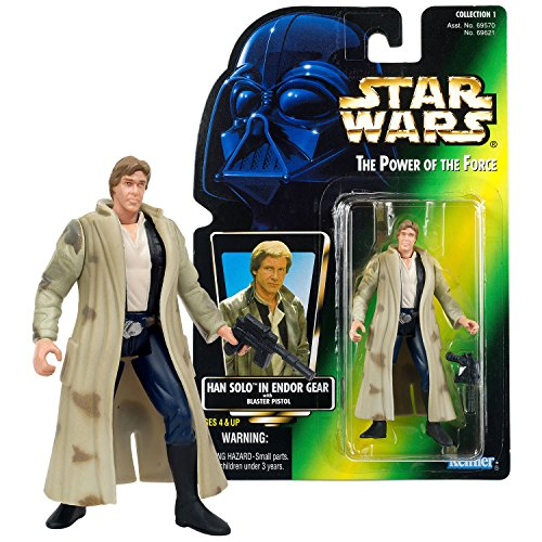SW Star Wars Year 1996 Power of The Force Series 4 Inch Tall Figure - HAN SOLO in Endor Gear Trench Coat with Blaster ()