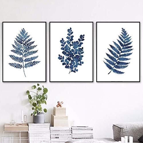 Wadyx Ink Blue Fern Prints Watercolor Indigo Leaf Botanical Art Canvas Posters, Ink Blue Eucalyptus Foliage Painting Home Wall Decor 50X70 Cmx3 No Frame
