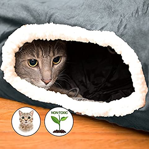 Interactive Cat Tunnel Toy- Best for Playful Cats And Kittens - Fun Cat Hideaway with Tunnel Attachments- SOFT and 100% Pet Friendly - Extra Large Pet - Friendly Cat
