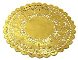 Gold Foil Round Lace Paper Doilies Cake Packaging Golden Paper Mat Doily 12 Inch (24 pcs)