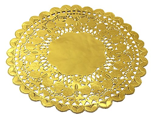 12 Inch Gold Foil Metallic Round Paper Doilies Golden Foil Paper Doilies for Party Wedding (48 Pack) by hihiluxern