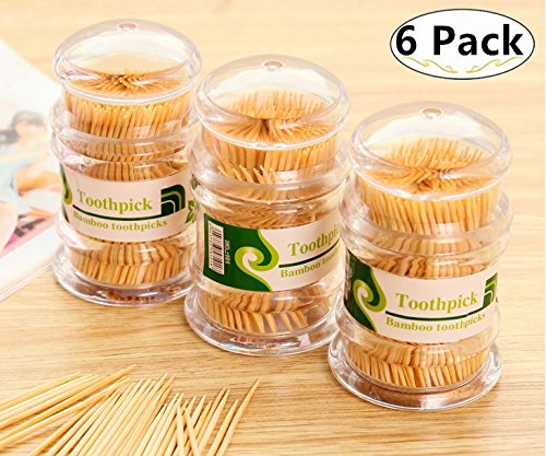 Pick 1500 (1500 Piece Wooden Toothpicks with Holder, Carnatory Bamboo Toothpicks Cocktail Sticks in Dispenser, Appetizer, Olive, Barbecue, Fruit, Teeth Cleaning Toothpicks)
