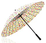 Multi-Color Beautiful Sun Rain Umbrella Withstand Wind Long Handle Umbrella Flower Colorized
