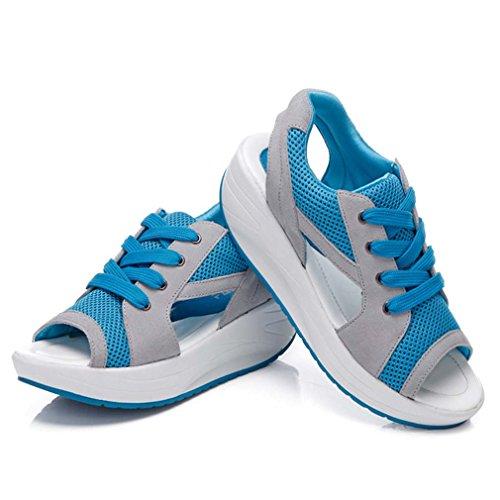 Baskets Maille De Sandales Peep Femmes Des Chaussures Respirant Orteil Course Bleu Solshine wqWzqX1arA