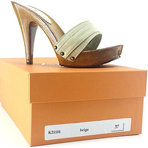 TALON 11 FEMME SABOT JEANS BEIGE kiara K21101 shoes ITALIENNE qOtPwnXY