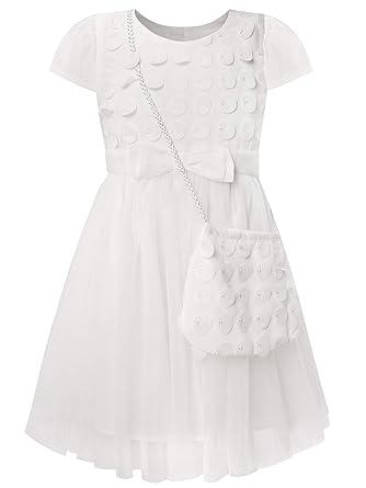 Bonny Billy Mädchen Kleider Tüll Festlich Hochzeit Taufe Applikationen Kurzarm Kinder Kleid Mit Tasche