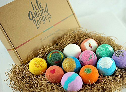 LifeAround2Angels Bath Bombs Gift Set 12 USA made Fizzies, Shea & Coco Butter Dry Skin Moisturize, Perfect for Bubble… 6
