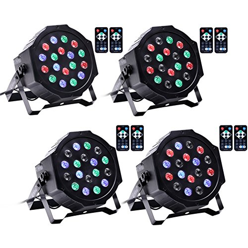 U`King Par Lights with 18 LEDs RGB by IR Remote and DMX Control for Stage Lighting (4PCS)]()