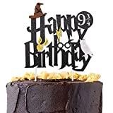 Double Sided Glitter Black Harry Potter Inspired Happy Birthday Cake Topper Wizard Party Supplies