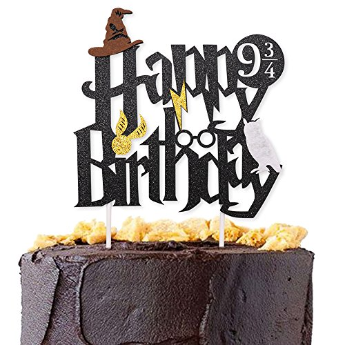 Levfla Double Sided Glitter Black Harry Potter Inspired Happy Birthday Cake Topper Wizard Party Supplies