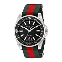 Gucci Dive Stainless Steel with Striped Nylon Band Men's Watch(Model:YA136206)