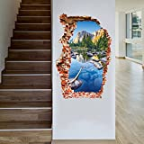 Amaonm Fashion Giant 3D Natural Mountains Blue Lake Water Scenery Through the Wall False Window Wall Stickers Murals Wall art Decor Decoration Door Decals for Home Living room Offices Kids Bedroom