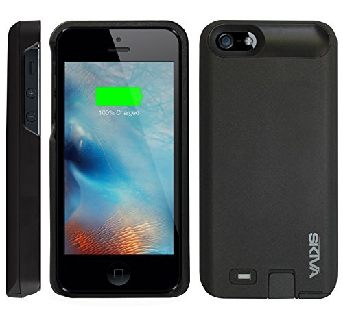 iPhone SE Battery Case, [Apple MFi Certified] Skiva PowerFlow 2000mAh iPhone SE Portable Charger External Rechargeable Protective Juice Power Bank Pack Cover for iPhone SE 5s 5 (Black) [Model:AP120]