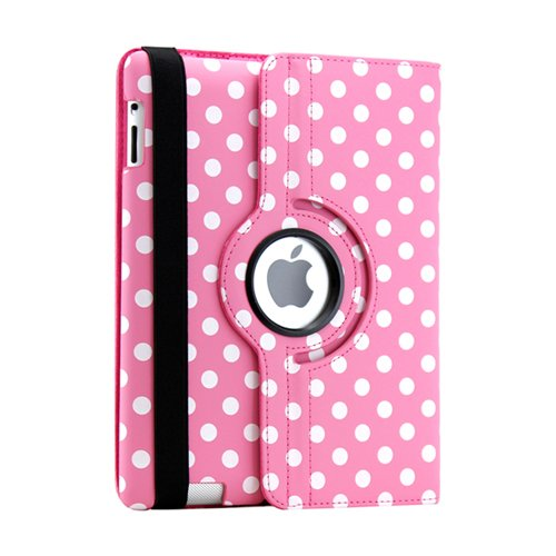 Gearonic 360 Degree Rotating PU Leather Case Smart Cover Stand for iPad 2/3/4, Hot Pink/White Polka Dot (AV-5000PPUIB_PolkaDot)