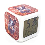 BoFy Led Alarm Clock Australian Queensland Heeler Dog Puppy Pattern Personality Creative Noiseless Multi-functional Electronic Desk Table Digital Alarm Clock for Unisex Adults Kids Toy Gift