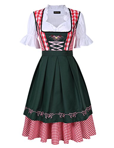 GloryStar Women's German Dirndl Dress Costumes for Bavarian Oktoberfest Carnival Halloween (2XL, Red/Green)]()