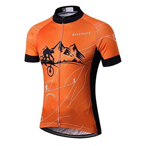 BIYINGEE Men's Cycling Jersey Short Sleeve with Big Reflective Tape Riding Orange Size XL