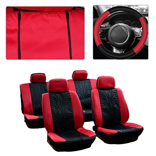 ck/Red Car Seat Cover w/Headrest Covers/Steering Wheel Cover/Shoulder Pads 11PCS Breathable Embossed Cloth Retractable Auto Seat Cover Replacement for Most Cars ()