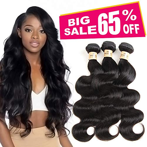 3 Bundles Deal Brazilian Human Hair Body Wave Hair Bundles Cheap Brazilian Wavy Hair Weave 100% Human Hair Extensions 8A Grade Natural Black Color (10 12 14) inch