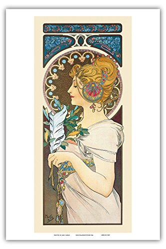 "Pacifica Island Art Feather - Art Nouveau - La Belle Époque- ""Les Maitres de l'Affiche""- Art Deco- Vintage French Advertising Poster by Alphonse Mucha 1899 - Master Art Print - 12in x 18in"