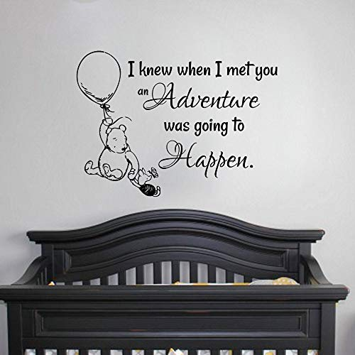 Winnie The Pooh Wall Decal Sticker Kids Room Wall Sticker Vinyl Quote Decal Hot Air Balloon Baby Bedroom Decor