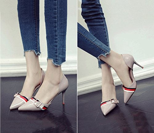 Sandals Shoes Pointed Sexy Toe Female Stiletto Mouth Heel Dream Hollow Sexy Shallow Gray Vintage Summer Heels F06HWqRU
