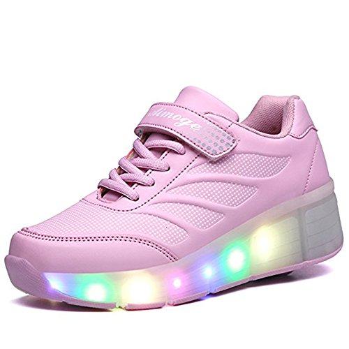 Zapatos de patín de rodillo con LED,Parpadeante zapatos deportivos al aire libre-Niño/Adulto Rosa