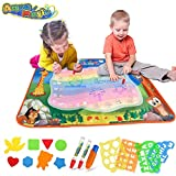 Aqua Magic Doodle Mat, Extra Large Water Drawing Mat in 7 Rainbow Colors for Kids/Toddlers Learning Painting Coloring, Educational Toy Gift for Boys Girls with Lot of Accessories, Size 39'' x 27''