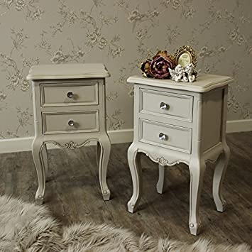 6456e1dc6e Melody Maison Pair of Grey Two Drawer Bedside Tables - Elise Grey Range