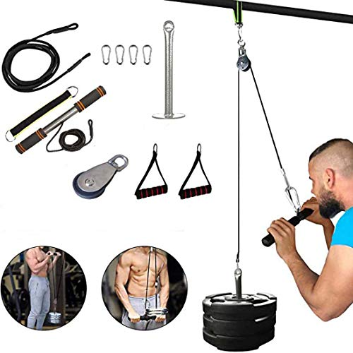 CELLTEK Weight Pulley System,11pcs Fitness DIY Cable Pulley System with Loading Pin,Foam Handle for Pulldowns,Shoulder…