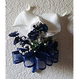 Ivory Navy Blue Calla Lily Corsage or Boutonniere 72