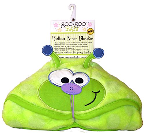 Goo-Goo Baby Button Nose Kid's Hooded Blanket and Towel, Warm Soft Fleece Character Blanket, Caterpillar, 0-10 (Caterpillar Costumes)