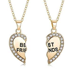 2pcs par ensemble coeur strass meilleurs amis gravé pendentif collier d'amitié pour la fête de mariage