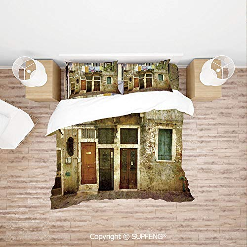 SCOXIXI Bed Cover Set Old Weathered Building Facade with Hanged Clothes Murano Island Grunge Architecture (Comforter Not Included) Soft, Breathable, Hypoallergenic, Fade Resistant