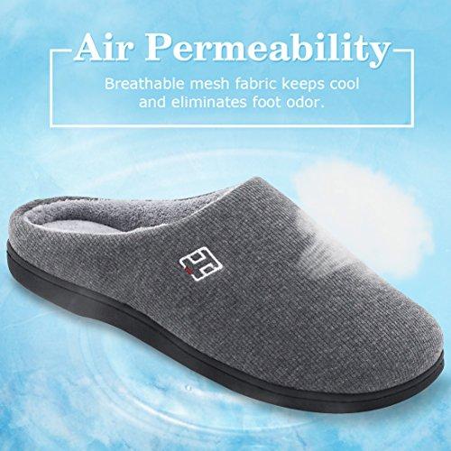 HomeIdeas Men's Cotton Memory Foam Anti-Slip Slip On House Slippers (Small / 7-8 D(M) US, Gray) by HomeIdeas (Image #2)